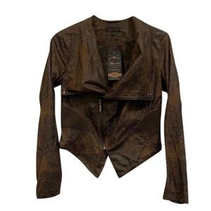 Baccini Collection Snakeskin Faux Leather Jacket